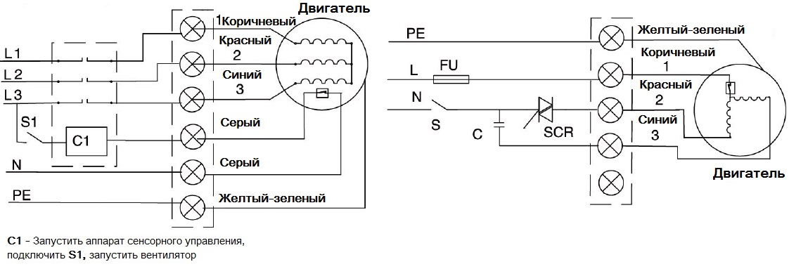 Осевые промышленные вентиляторы МАЙЕР MAER YSWF-300 схема проводки